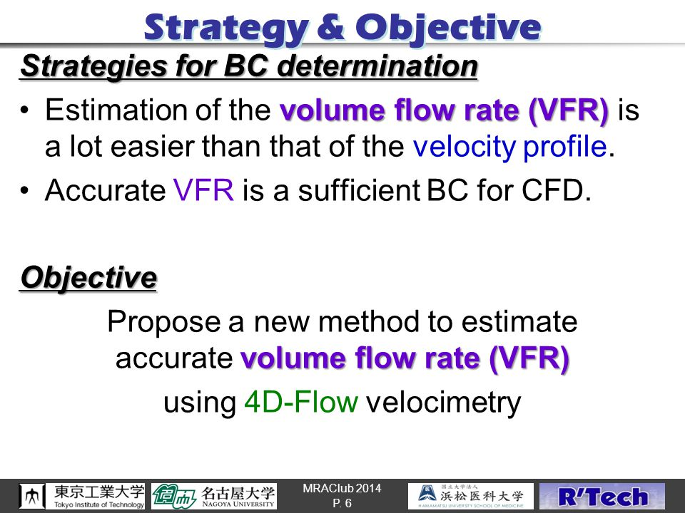 MRAClub 2014 Strategy & Objective Strategies for BC determination volume flow rate (VFR)Estimation of the volume flow rate (VFR) is a lot easier than