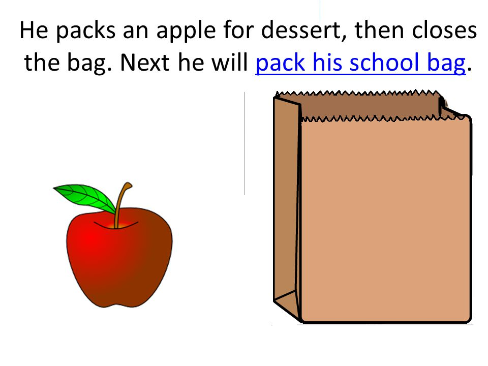 He puts the sandwich into a lunch sack.
