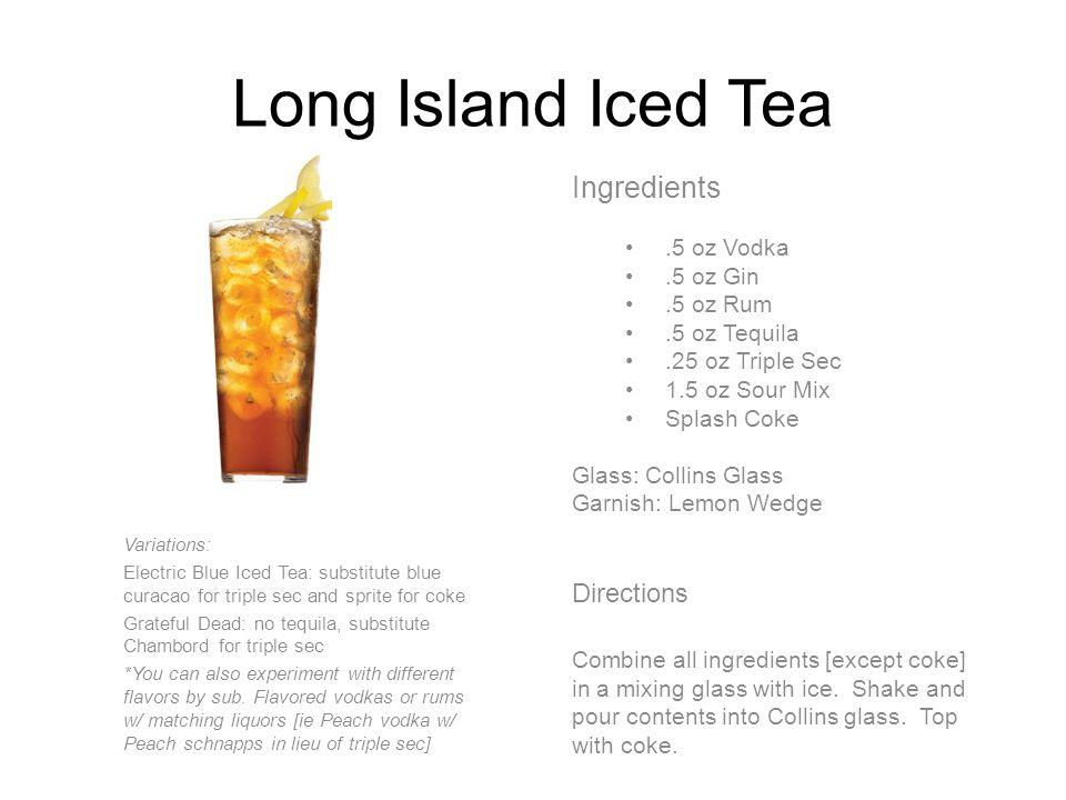 Mai-Tai Ingredients 1 oz Light Rum 1 oz Dark Rum.5 oz Triple Sec.5 oz Amaretto 1 oz Sour Mix Glass: Collins Glass Garnish: Orange Slice, Cherry Directions Combine all ingredients in a shaker with ice.