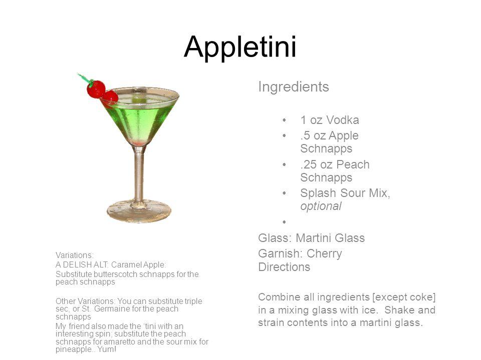 Cosmopolitan Ingredients 1.5 oz Citron Vodka.5 oz Triple Sec Splash Lime Juice Splash Sour Mix, optional Cranberry Juice Glass: Martini Glass Garnish: Lemon Twist Directions Combine all ingredients [except coke] in a mixing glass with ice.