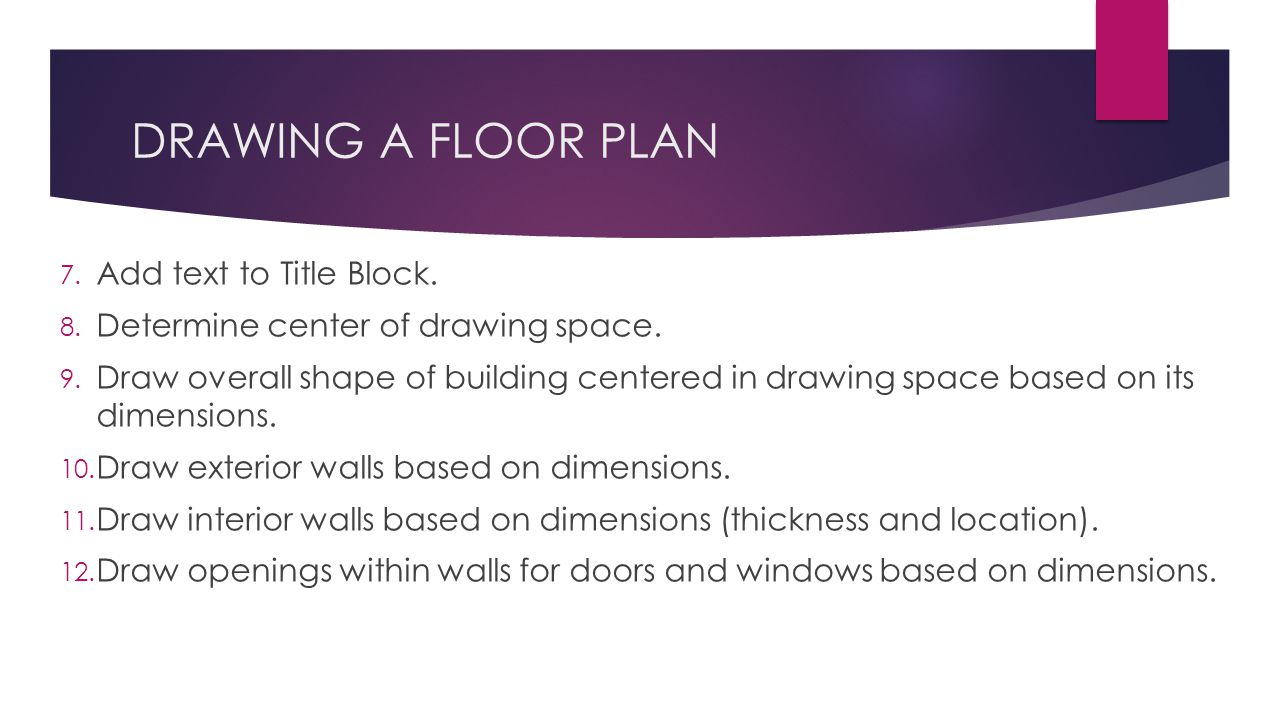 DRAWING A FLOOR PLAN 7. Add text to Title Block. 8.