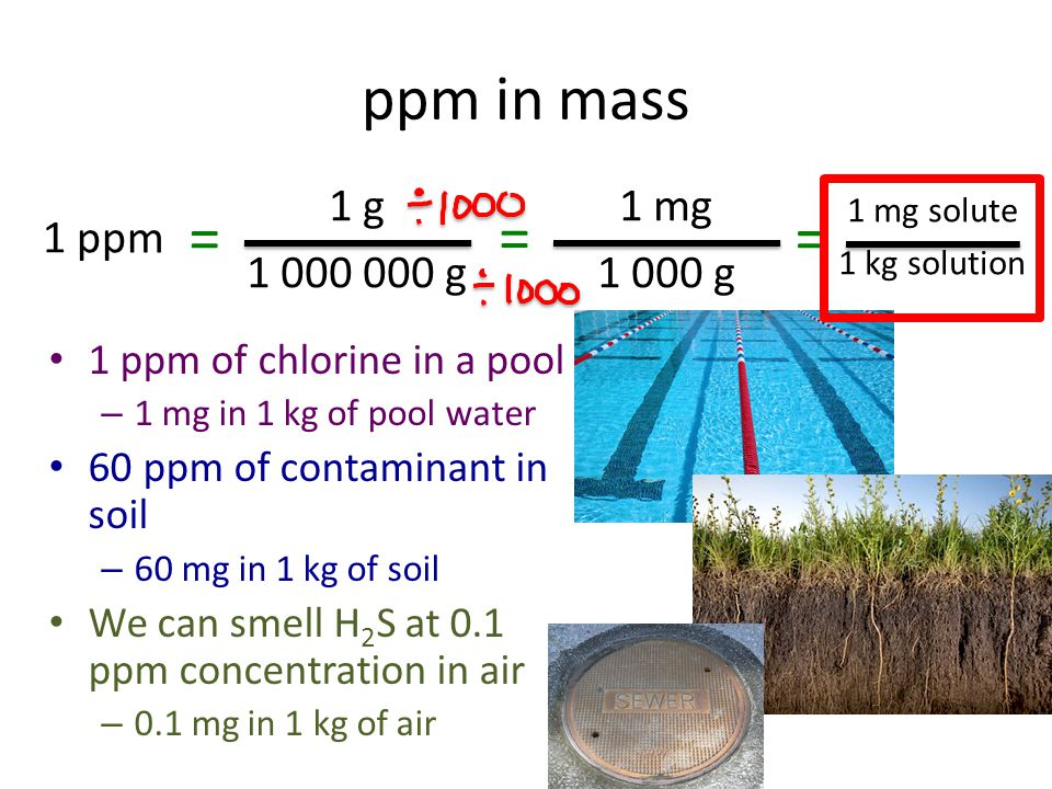 ppm in mass 1 ppm 1 g 1 000 000 g = 1 mg solute 1 kg solution 1 mg 1 000 g = = 1 ppm of chlorine in a pool – 1 mg in 1 kg of pool water 60 ppm of cont