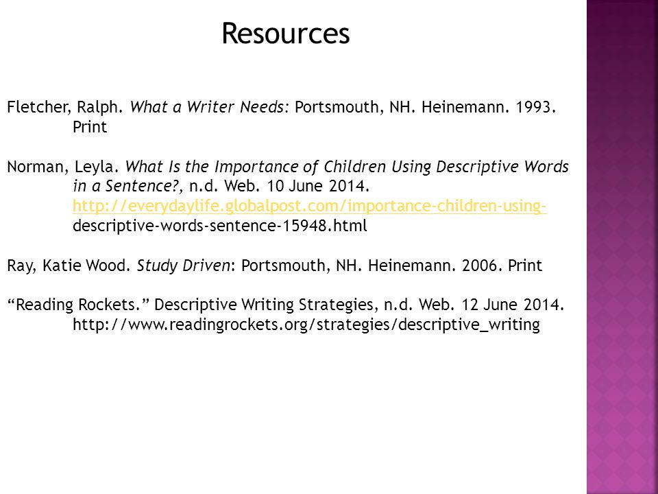 Resources Fletcher, Ralph. What a Writer Needs: Portsmouth, NH.