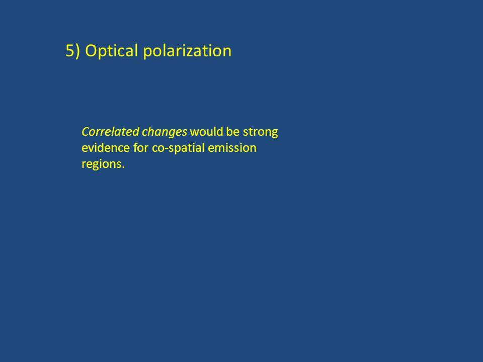 5) Optical polarization Correlated changes would be strong evidence for co-spatial emission regions.