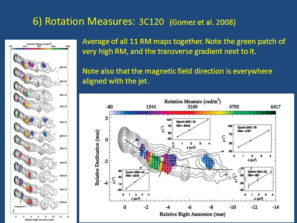 6) Rotation Measures: 3C120 (Gomez et al. 2008) Average of all 11 RM maps together.