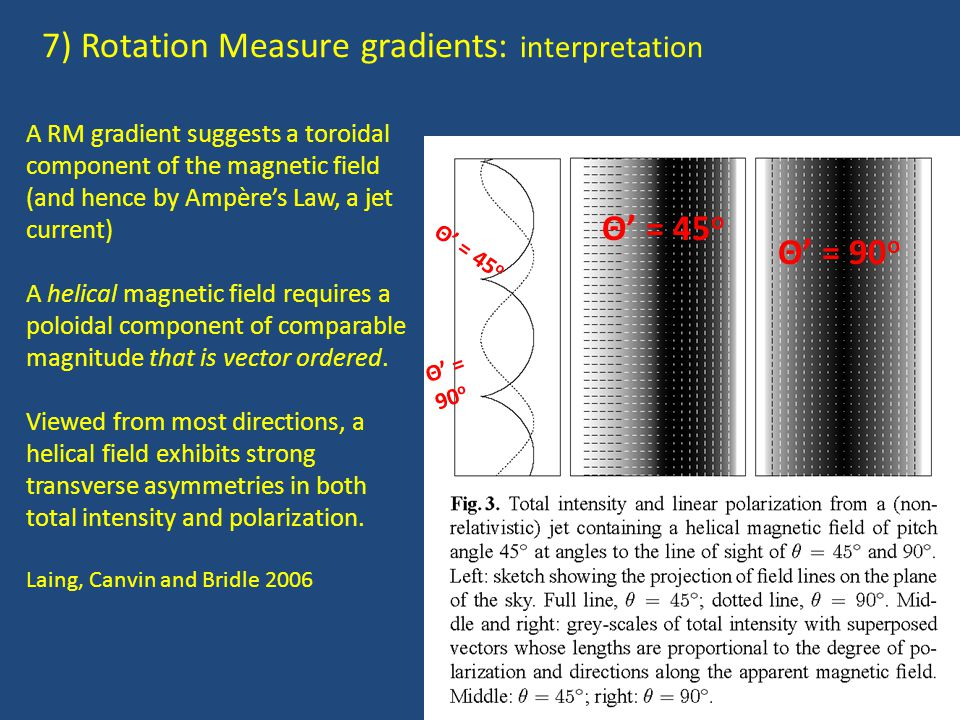 7) Rotation Measure gradients: interpretation A RM gradient suggests a toroidal component of the magnetic field (and hence by Ampère's Law, a jet current) A helical magnetic field requires a poloidal component of comparable magnitude that is vector ordered.