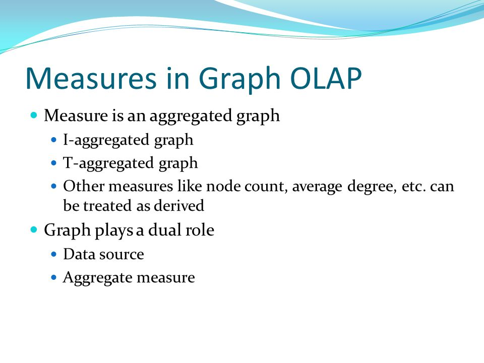 Measures in Graph OLAP Measure is an aggregated graph I-aggregated graph T-aggregated graph Other measures like node count, average degree, etc.