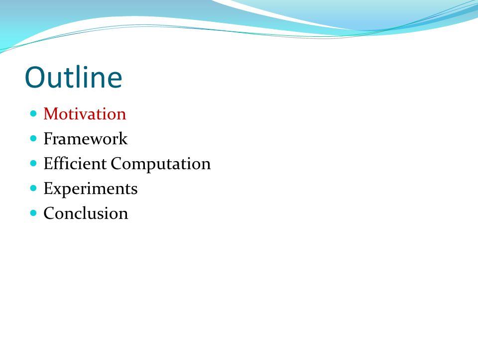 Outline Motivation Framework Efficient Computation Experiments Conclusion