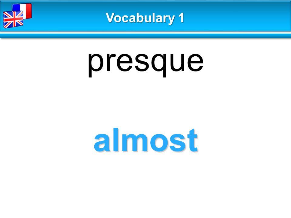 almost presque Vocabulary 1
