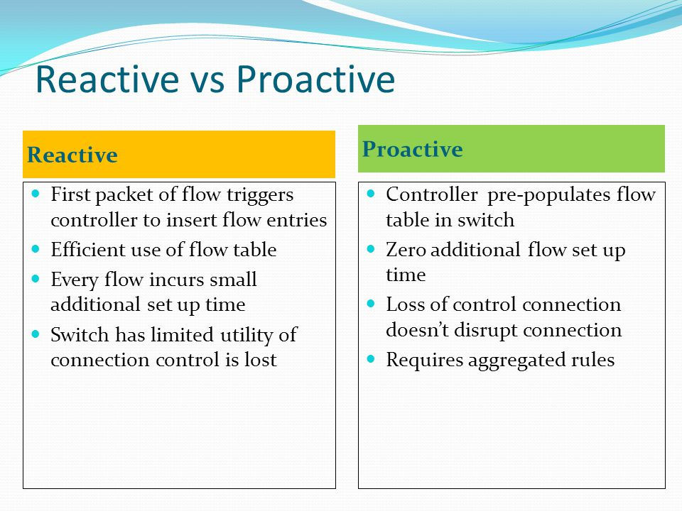 Reactive vs Proactive Reactive Proactive First packet of flow triggers controller to insert flow entries Efficient use of flow table Every flow incurs small additional set up time Switch has limited utility of connection control is lost Controller pre-populates flow table in switch Zero additional flow set up time Loss of control connection doesn't disrupt connection Requires aggregated rules