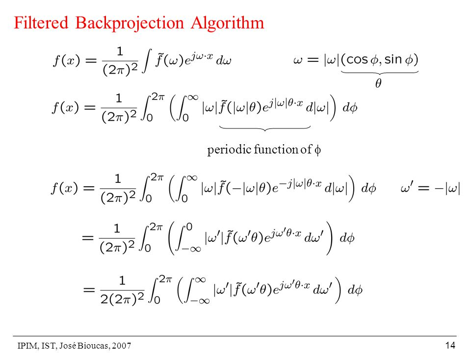 IPIM, IST, José Bioucas, 2007 14 Filtered Backprojection Algorithm periodic function of 