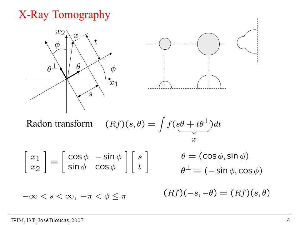 IPIM, IST, José Bioucas, 2007 4 X-Ray Tomography Radon transform