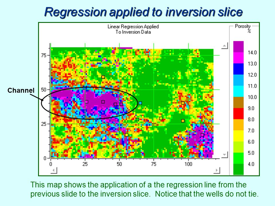 Regression applied to inversion slice This map shows the application of a the regression line from the previous slide to the inversion slice. Notice t