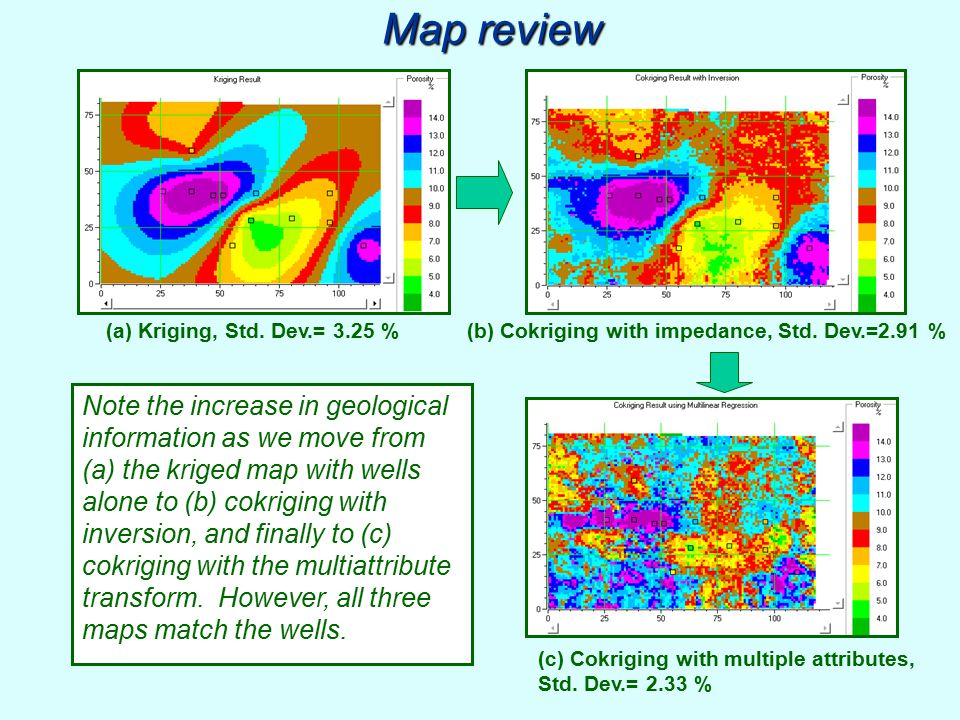 Map review Note the increase in geological information as we move from (a) the kriged map with wells alone to (b) cokriging with inversion, and finall
