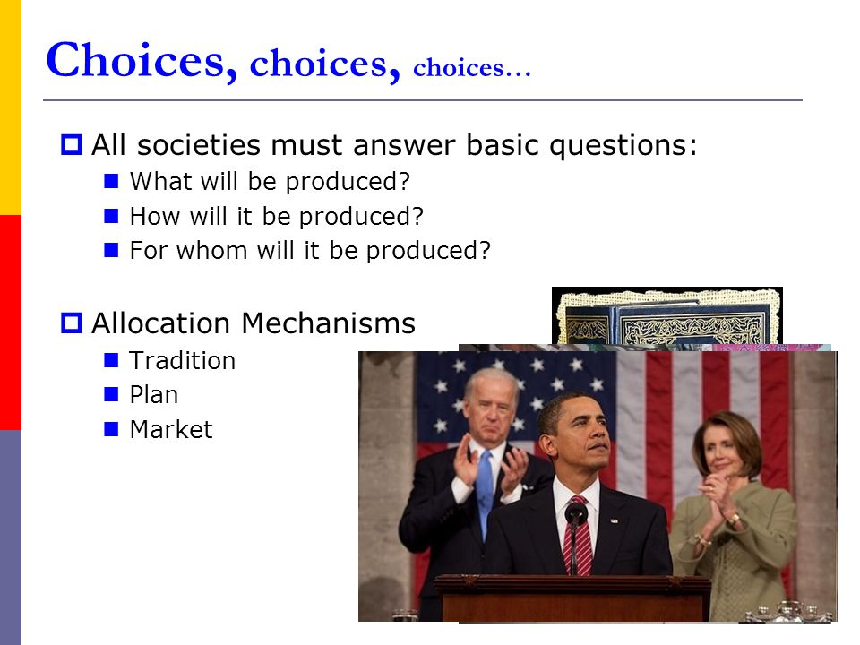  All societies must answer basic questions: What will be produced.