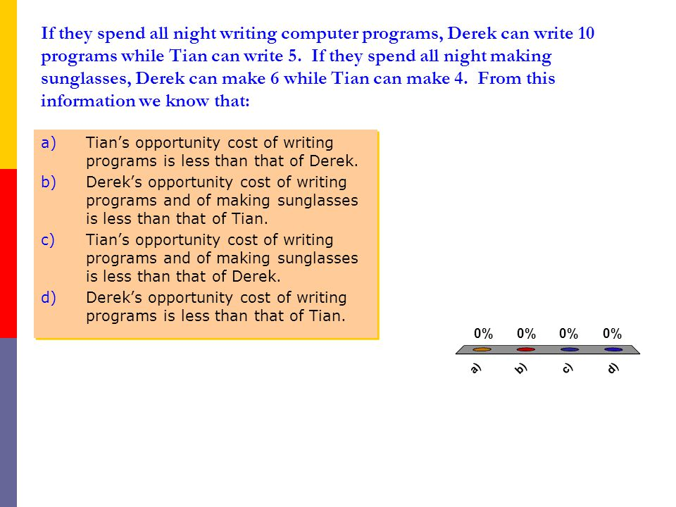 If they spend all night writing computer programs, Derek can write 10 programs while Tian can write 5.