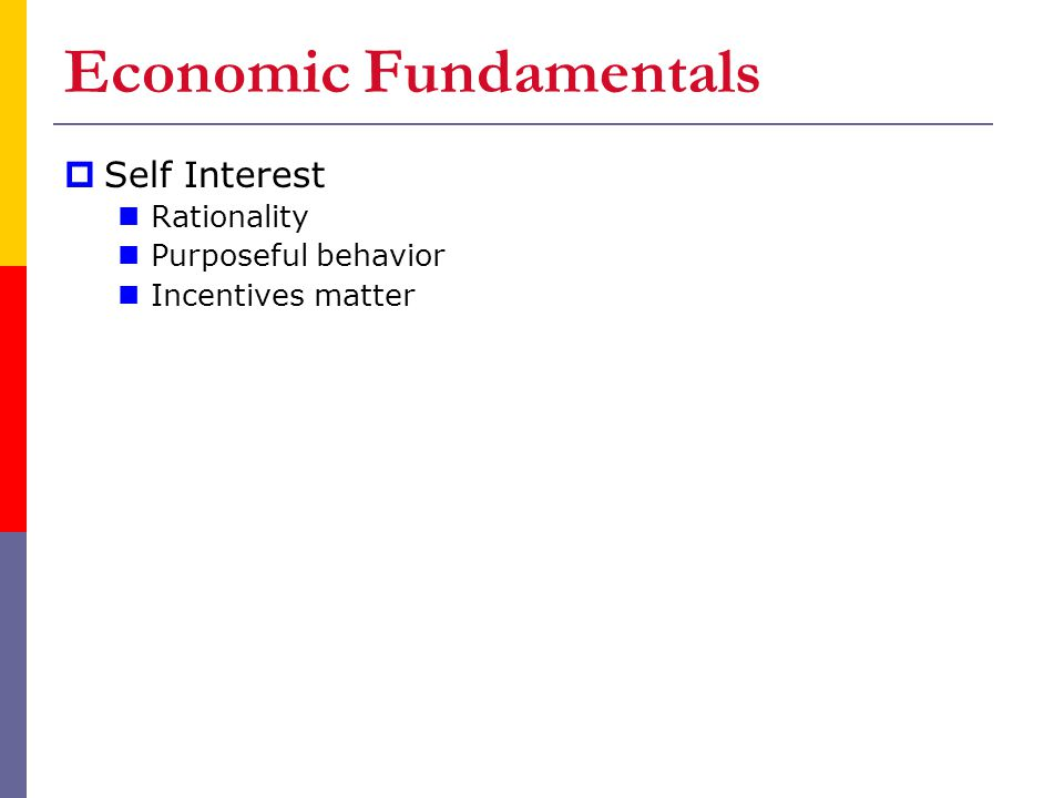 Economic Fundamentals  Self Interest Rationality Purposeful behavior Incentives matter