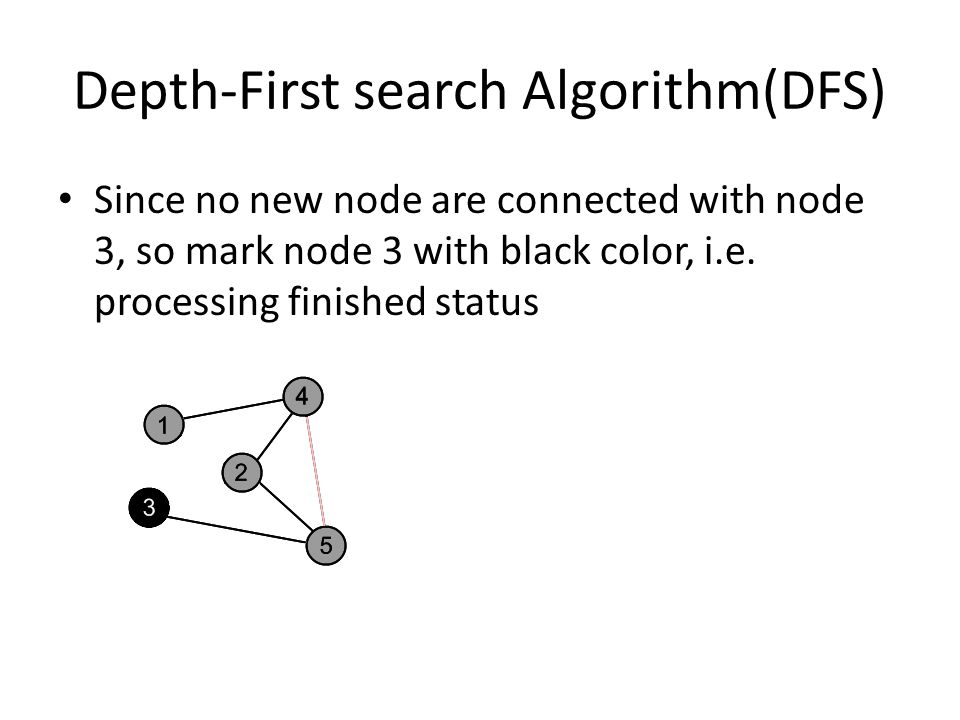 Depth-First search Algorithm(DFS) Since no new node are connected with node 3, so mark node 3 with black color, i.e. processing finished status
