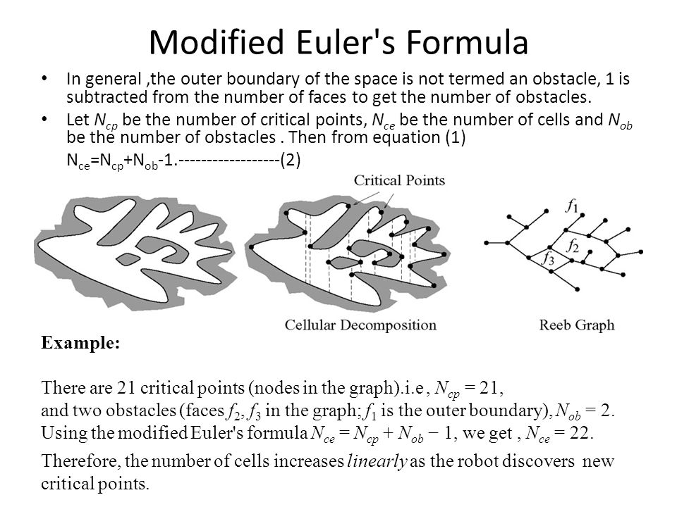Modified Euler s Formula In general,the outer boundary of the space is not termed an obstacle, 1 is subtracted from the number of faces to get the number of obstacles.