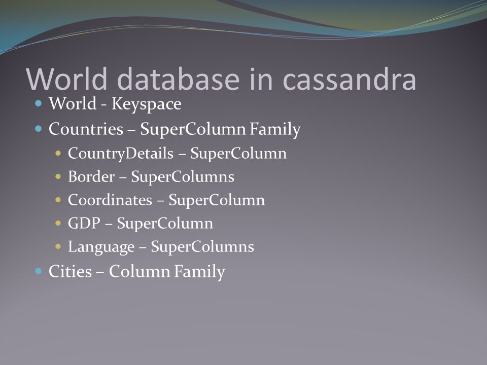 World database in cassandra World - Keyspace Countries – SuperColumn Family CountryDetails – SuperColumn Border – SuperColumns Coordinates – SuperColu