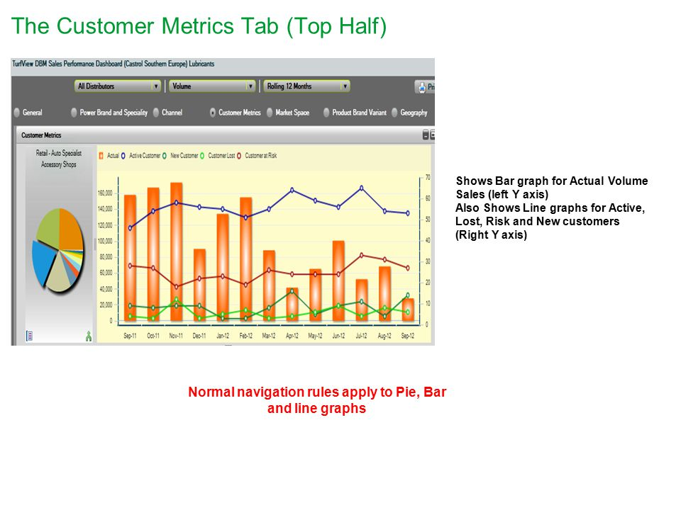 The Customer Metrics Tab (Top Half) Shows Bar graph for Actual Volume Sales (left Y axis) Also Shows Line graphs for Active, Lost, Risk and New customers (Right Y axis) Normal navigation rules apply to Pie, Bar and line graphs