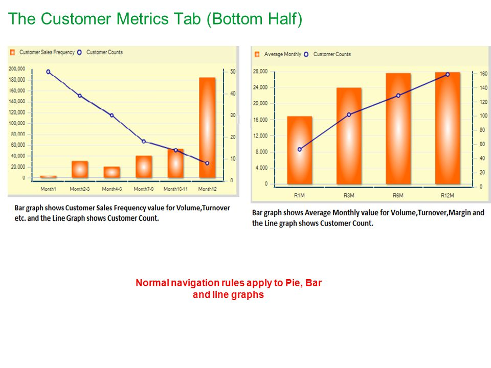 The Customer Metrics Tab (Bottom Half) Normal navigation rules apply to Pie, Bar and line graphs