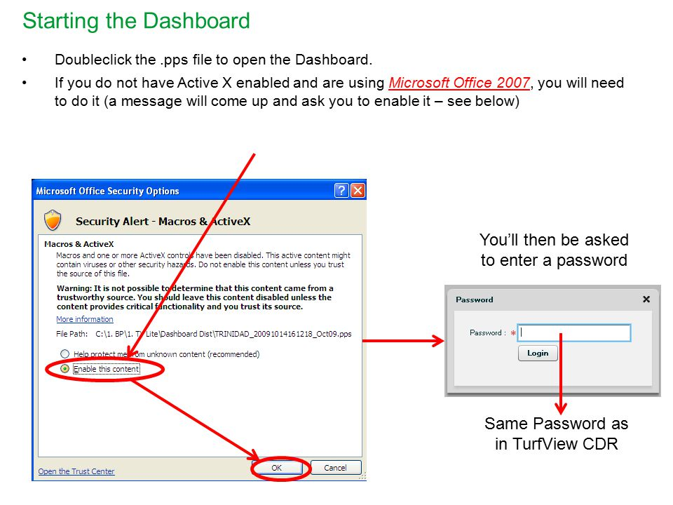 Starting the Dashboard Doubleclick the.pps file to open the Dashboard.