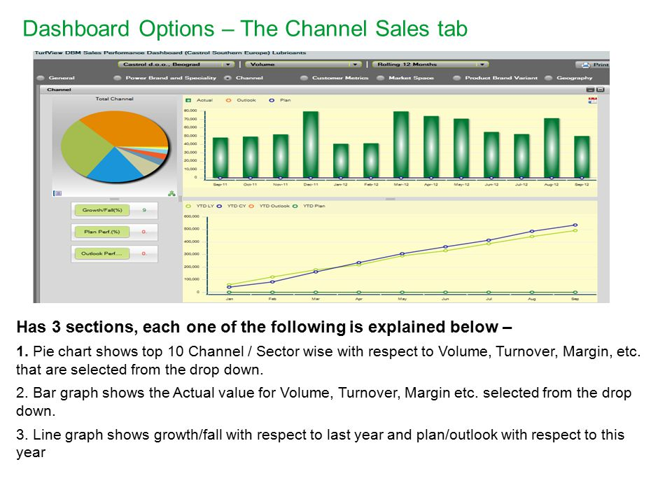 Dashboard Options – The Channel Sales tab Has 3 sections, each one of the following is explained below – 1.