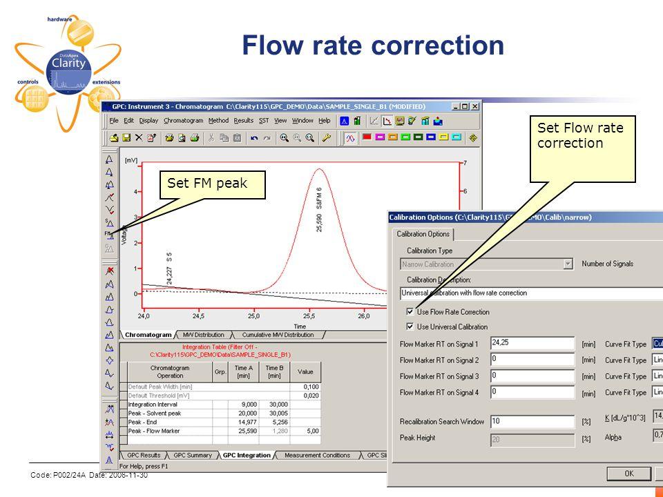 Code: P002/24A Date: 2006-11-30 6 Flow rate correction Set FM peak Set Flow rate correction