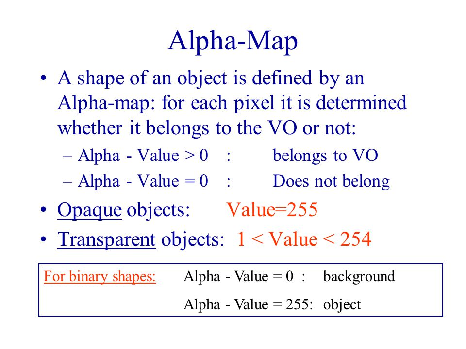 Alpha-Map A shape of an object is defined by an Alpha-map: for each pixel it is determined whether it belongs to the VO or not: –Alpha - Value > 0:belongs to VO –Alpha - Value = 0:Does not belong Opaque objects: Value=255 Transparent objects: 1 < Value < 254 For binary shapes:Alpha - Value = 0 : background Alpha - Value = 255: object