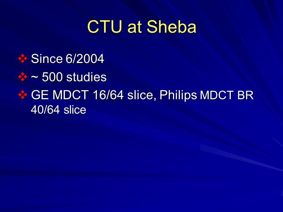 CTU at Sheba  Since 6/2004  ~ 500 studies  GE MDCT 16/64 slice, Philips MDCT BR 40/64 slice