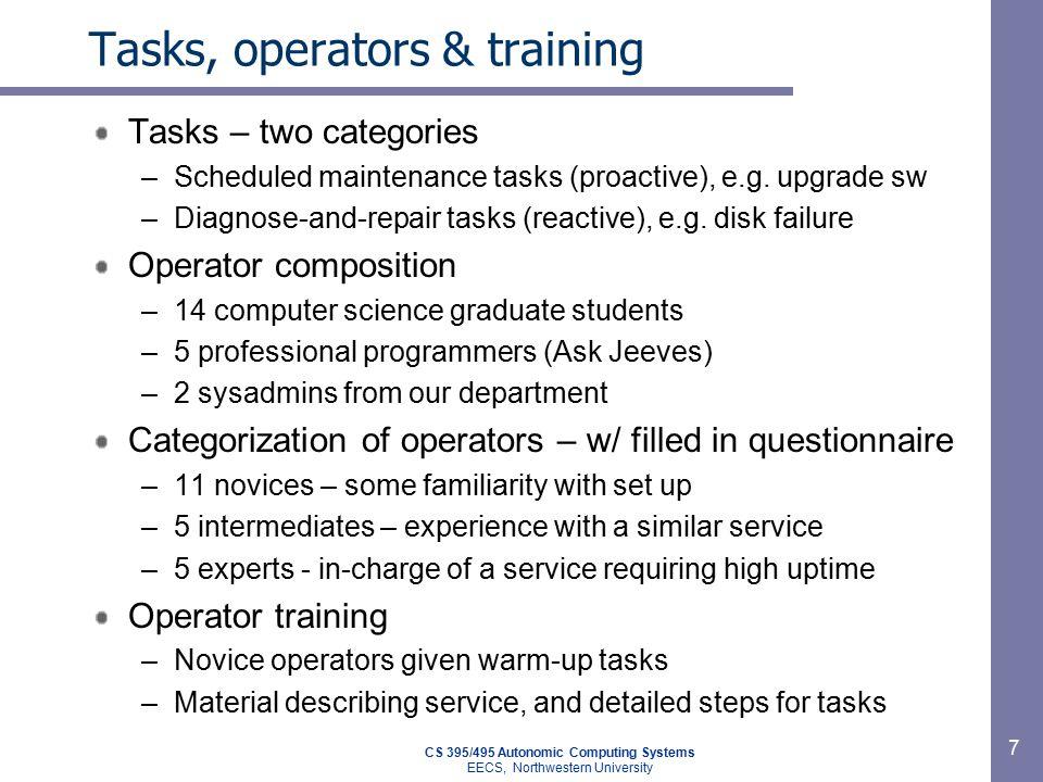 CS 395/495 Autonomic Computing Systems EECS, Northwestern University 7 Tasks, operators & training Tasks – two categories –Scheduled maintenance tasks (proactive), e.g.