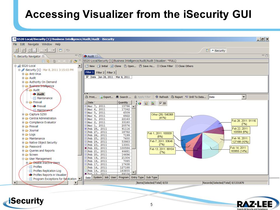 5 Accessing Visualizer from the iSecurity GUI