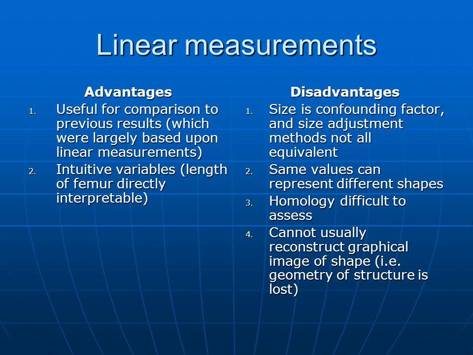 Linear measurements Advantages 1.