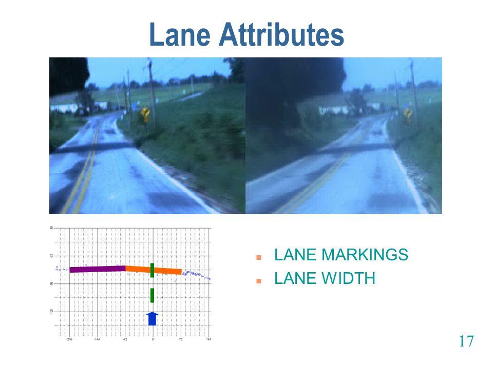 Lane Attributes n LANE MARKINGS n LANE WIDTH 17
