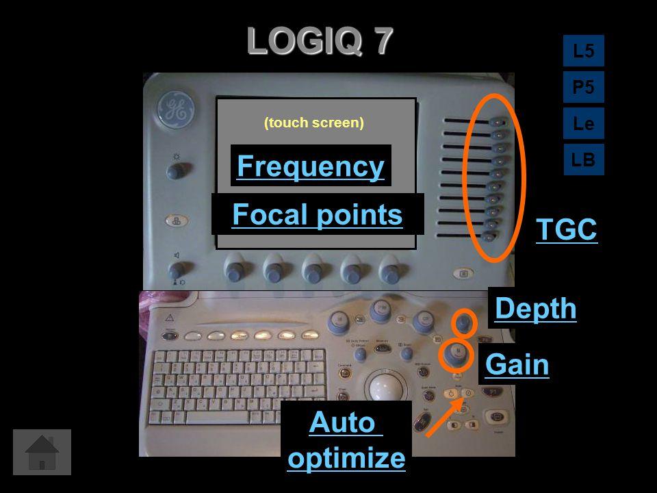 LOGIQ 7 TGC Auto optimize Gain Depth Frequency Focal points (touch screen) L5 LB Le P5