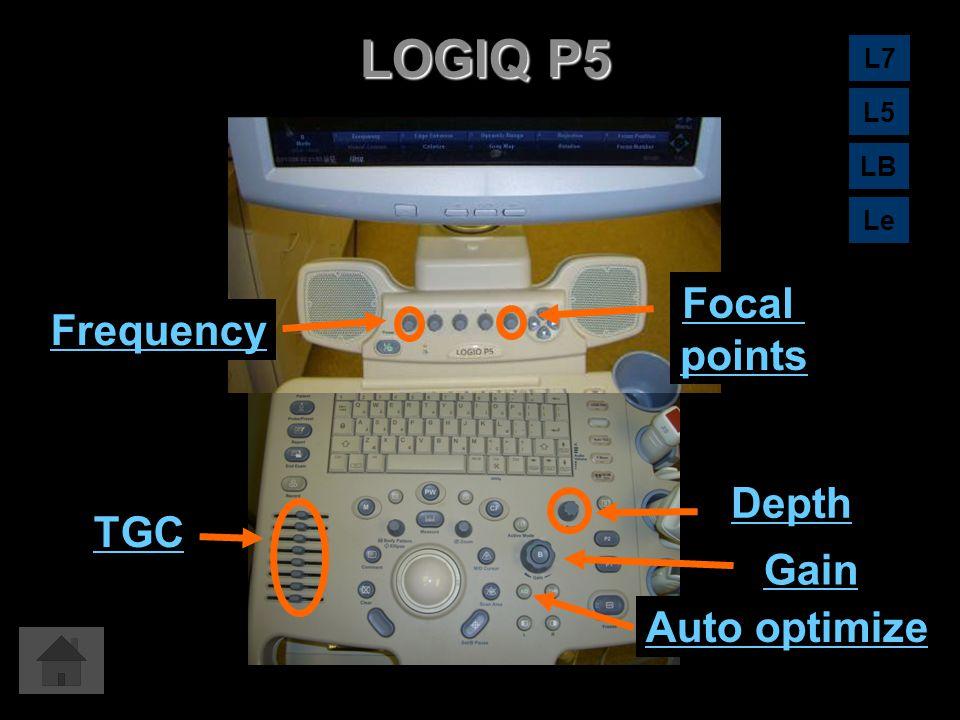 LOGIQ P5 Auto optimize Gain Depth TGC Focal points Frequency L7 L5 LB Le