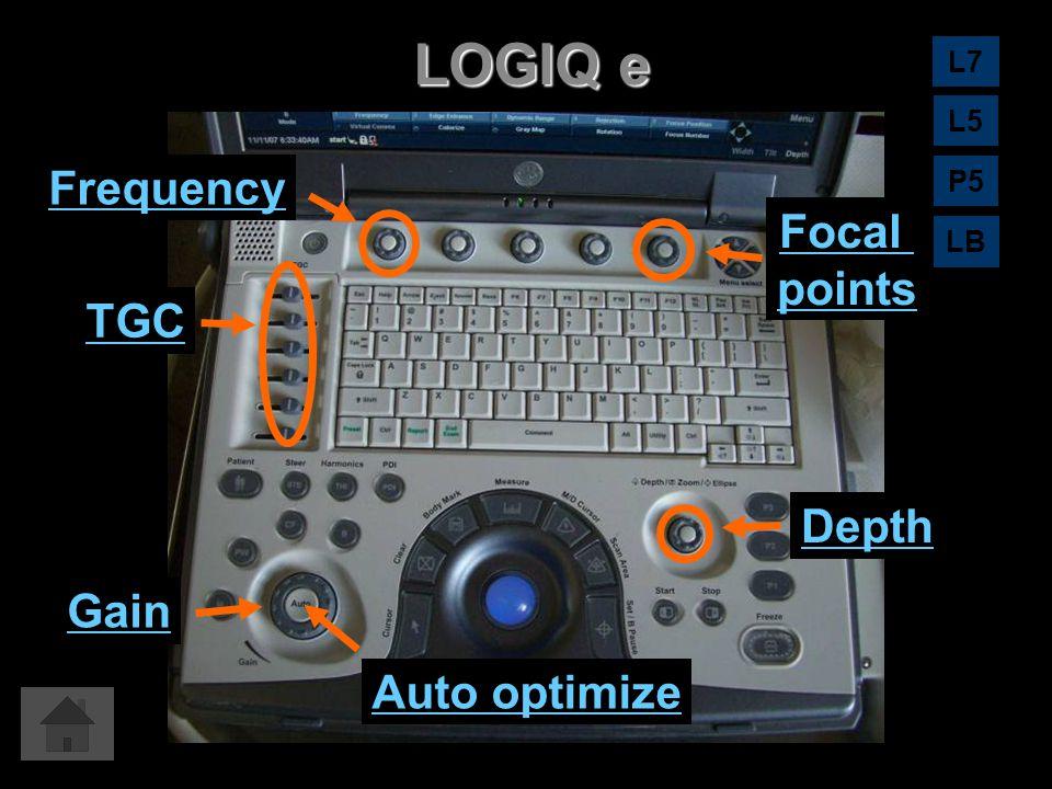 LOGIQ e Auto optimize Gain Depth TGC Focal points Frequency L7 L5 LB P5