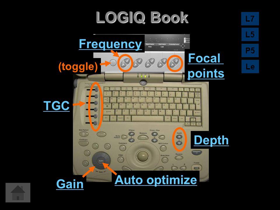 LOGIQ Book Auto optimize Gain Depth TGC Focal points Frequency (toggle) L7 L5 Le P5