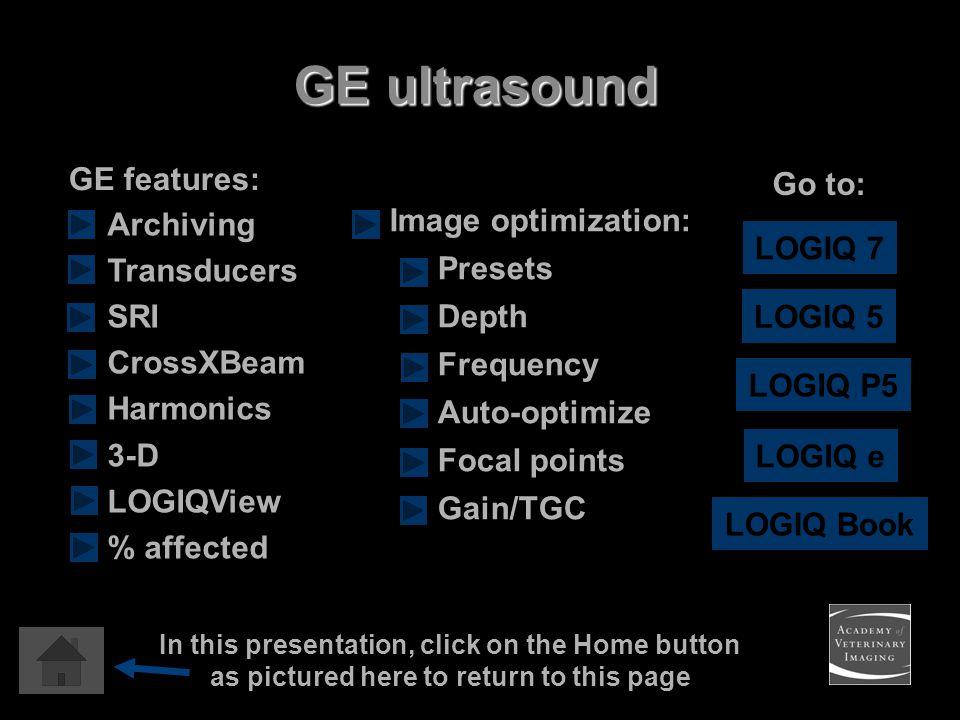 LOGIQ 7 LOGIQ Book Go to: Image optimization: Presets Depth Frequency Auto-optimize Focal points Gain/TGC LOGIQ e LOGIQ 5 Archiving Transducers SRI Cr