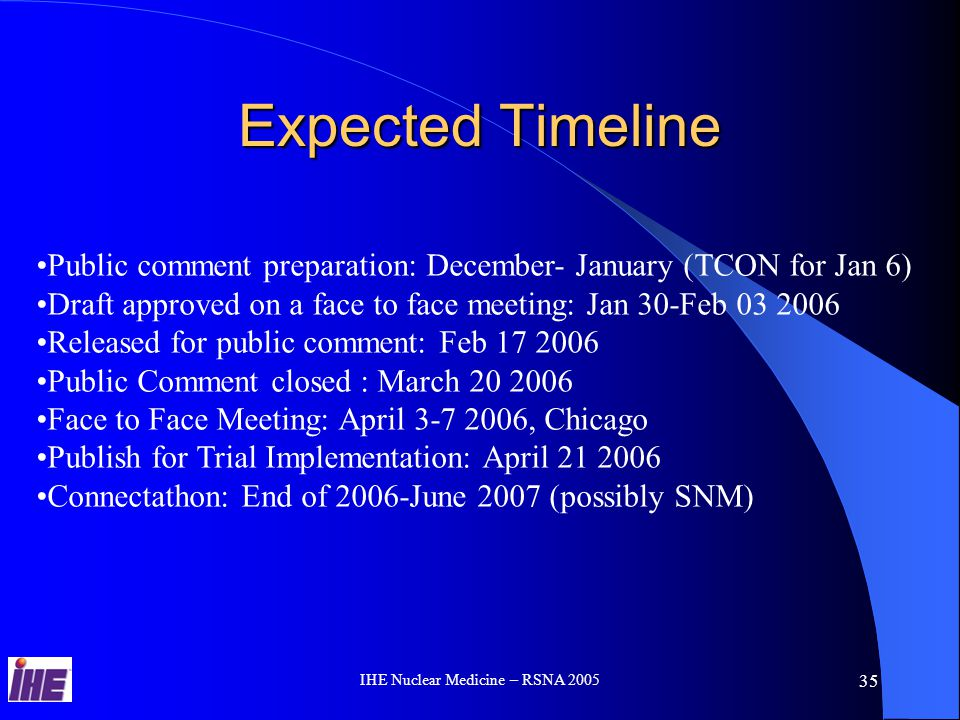 IHE Nuclear Medicine – RSNA 2005 35 Expected Timeline Public comment preparation: December- January (TCON for Jan 6) Draft approved on a face to face