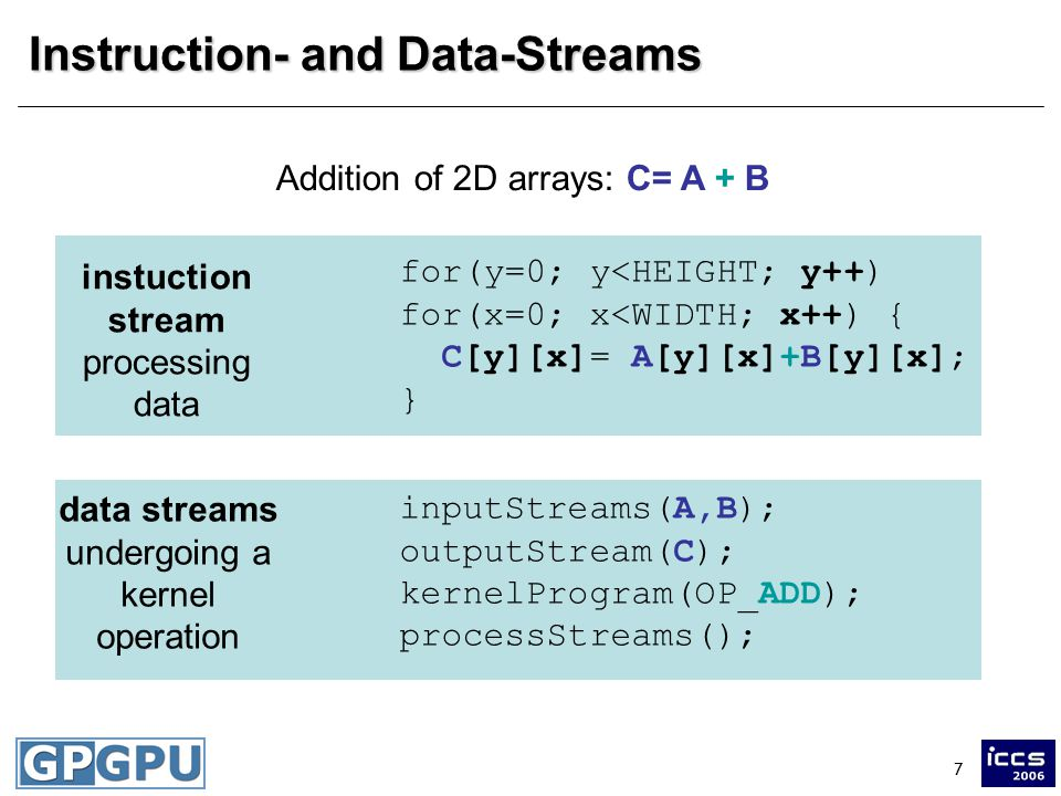 7 Instruction- and Data-Streams Addition of 2D arrays: C= A + B for(y=0; y<HEIGHT; y++) for(x=0; x<WIDTH; x++) { C[y][x]= A[y][x]+B[y][x]; } instuction stream processing data inputStreams(A,B); outputStream(C); kernelProgram(OP_ADD); processStreams(); data streams undergoing a kernel operation