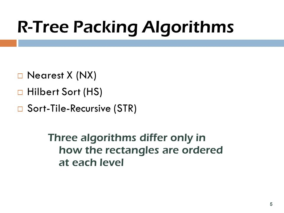 R-Tree Packing Algorithms  Nearest X (NX)  Hilbert Sort (HS)  Sort-Tile-Recursive (STR) 5 Three algorithms differ only in how the rectangles are ordered at each level