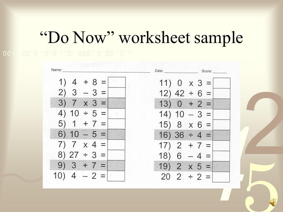 Do Now worksheet sample