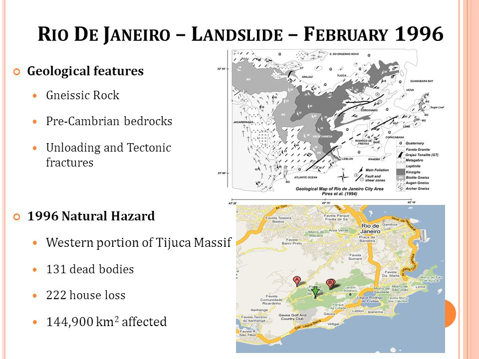 Geological features Gneissic Rock Pre-Cambrian bedrocks Unloading and Tectonic fractures R IO D E J ANEIRO – L ANDSLIDE – F EBRUARY 1996 1996 Natural Hazard Western portion of Tijuca Massif 131 dead bodies 222 house loss 144,900 km 2 affected