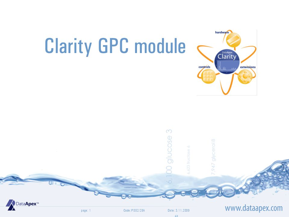 page:  Optional extension for SEC/GPC data evaluation Date: 3.11.2009Code: P002/28A2 GPC Extension
