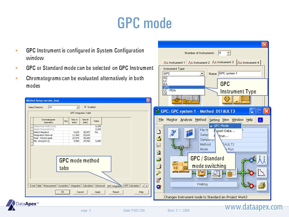 page: GPC mode Date: 3.11.2009Code: P002/28A3 GPC Instrument Type GPC / Standard mode switching GPC mode method tabs  GPC Instrument is configured in System Configuration window  GPC or Standard mode can be selected on GPC Instrument  Chromatograms can be evaluated alternatively in both modes