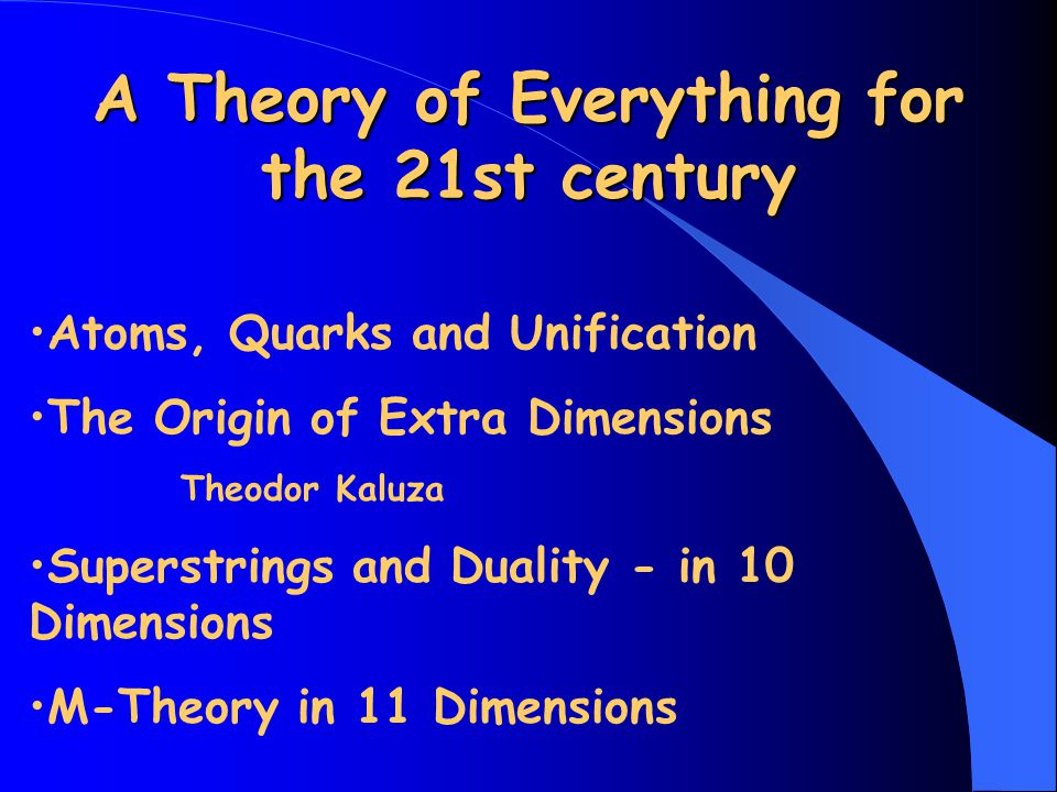 A Theory of Everything for the 21st century Atoms, Quarks and Unification The Origin of Extra Dimensions Theodor Kaluza Superstrings and Duality - in 10 Dimensions M-Theory in 11 Dimensions