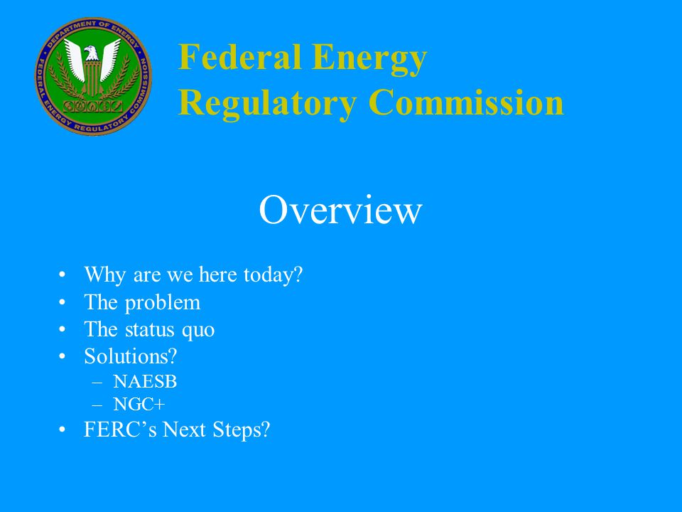 Federal Energy Regulatory Commission Today's Objectives Identify: How do we best minimize the pain while maximizing supply and market flexibility.