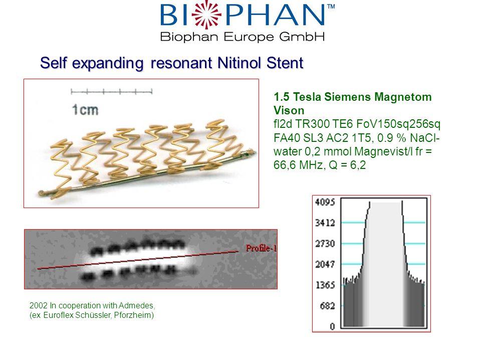 H Self expanding resonant Nitinol Stent 1.5 Tesla Siemens Magnetom Vison fl2d TR300 TE6 FoV150sq256sq FA40 SL3 AC2 1T5, 0.9 % NaCl- water 0,2 mmol Magnevist/l fr = 66,6 MHz, Q = 6,2 2002 In cooperation with Admedes, (ex Euroflex Schüssler, Pforzheim)